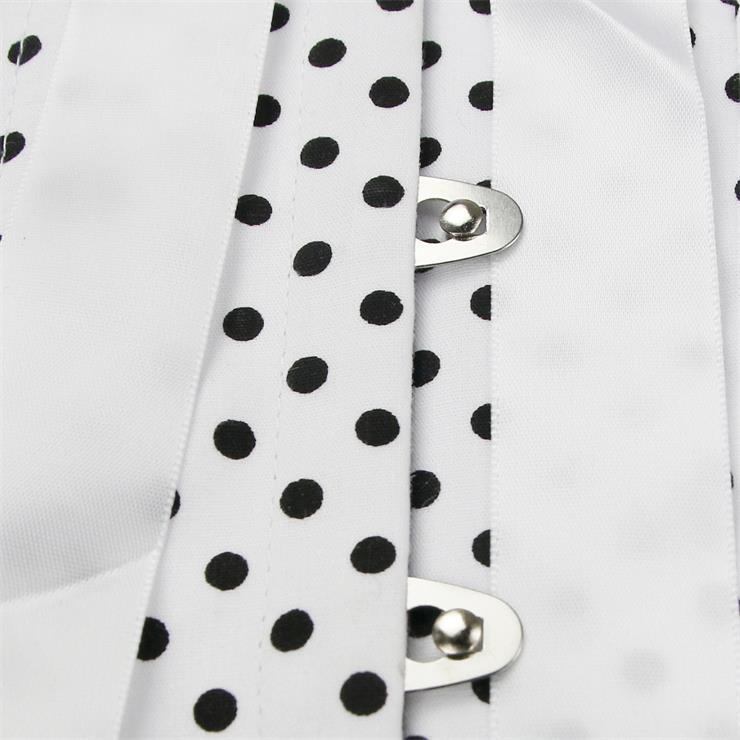 Halter Polka Dot Corset Top, White Polka Dot Corset Top, Halter Polka Dot Corset, #N5329