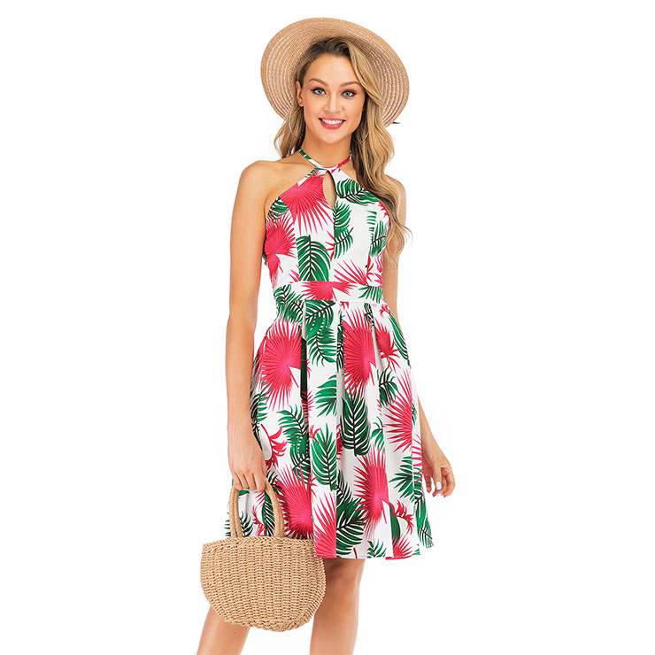 Fashion Casual Halter Frock Tropical Coconut Palm Beach Summer Day Swing Dress N19039