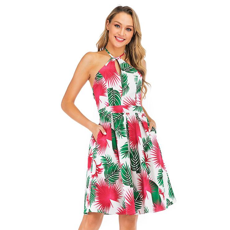 Fashion Halter Neck Dress, Fashion Backless Mini Dress, Coconut Palm Beachwear High Waist Dress, Cheap Party Dress Wholesale, Retro Dresses for Women 1960, Vintage Dresses 1950