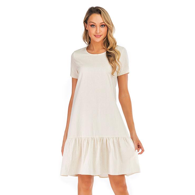 Fashion Casual Ruffle Hemline Crew Neck Loose Waist Frock Summer Day Dress N19040