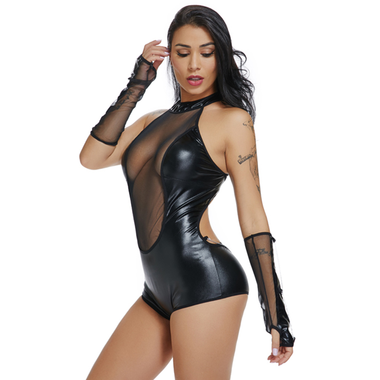 Mini Hollow Out Nightclub Bodysuit, Sexy Black Faux Leather Bodysuit, Halter Neck Jumper, Sexy Hollow Out Faux Leather Club Bodysuit, Faux Leather Bandage Mini Bodysuit, #N18674