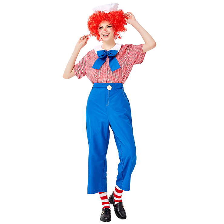 5pcs Unisex Funny Circus Clown Shirt and Trousers Adult Cosplay Costume Set N19450