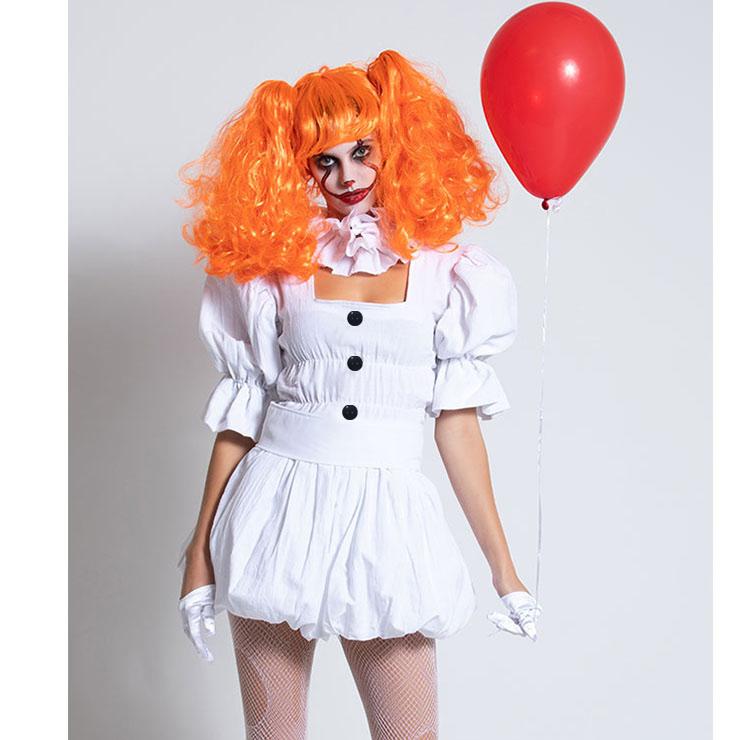 Women's Harlequin Horror Clown White Puff Dress Masquerade Costume N18680