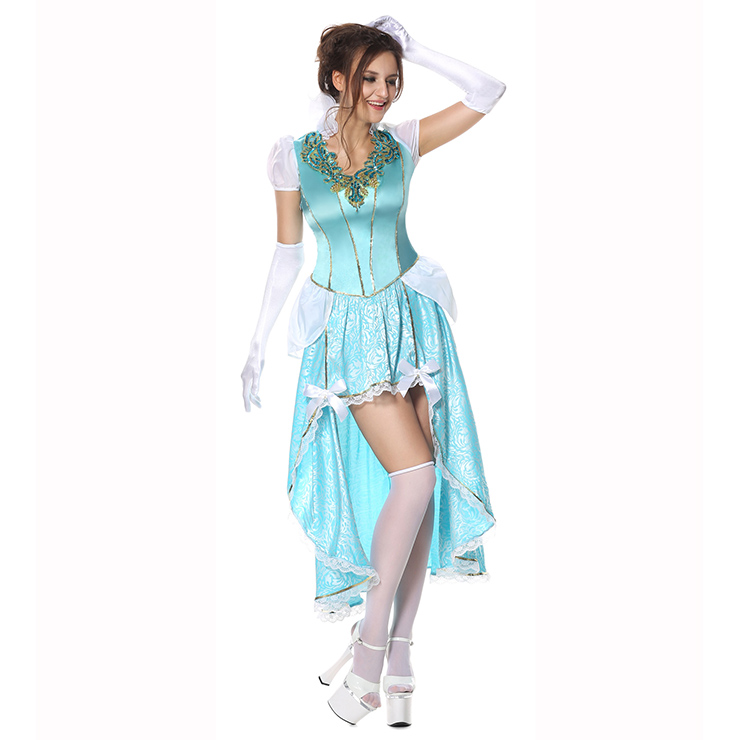 Having A Ball Costume, Sexy Blue Princess Costumes, Sexy Fairytale Princess Costume, Deluxe Blue Princess Costume, V-neck Deluxe Princess Dress, Cinderella Look Adult Costume #N8927