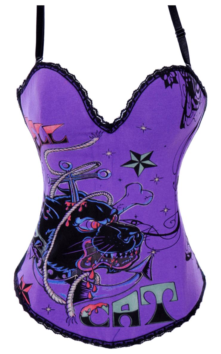 Graffiti Printed Corset, Hell Cat Graffiti Print Corset Purple, Hell Cat Graffiti Print Corset, #N2081