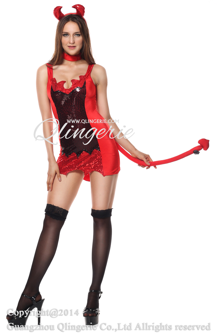 Hell With That Costume, Sequin Devil Costume, Black and Red Devil Costume, #N6198