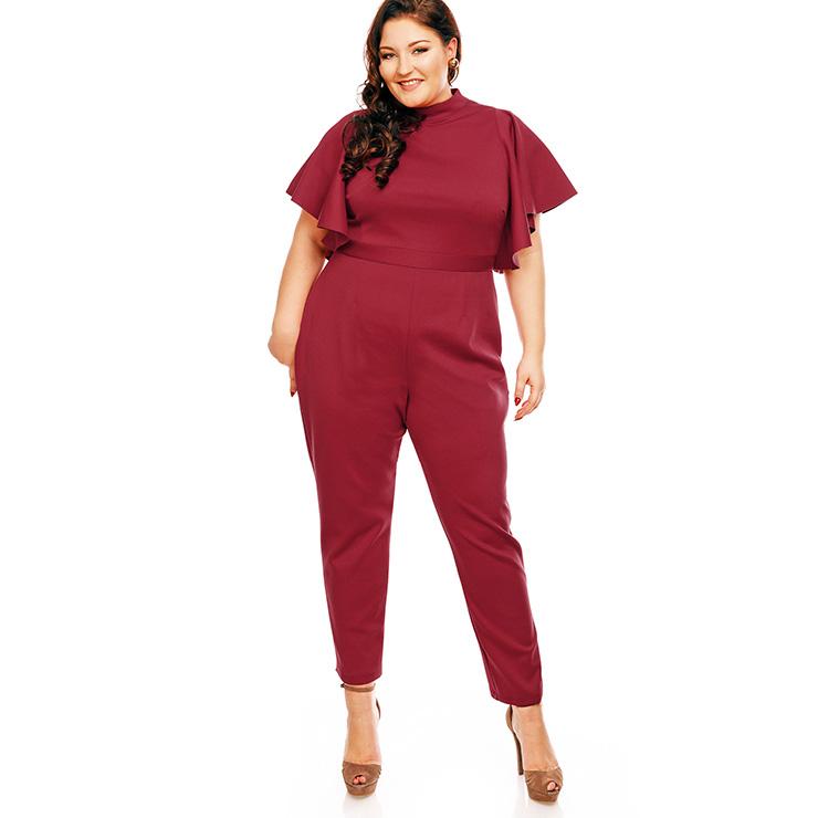 7a172e9988b9 Women s High Neck Wide Flare Short Sleeve Plus Size Jumpsuit N14461