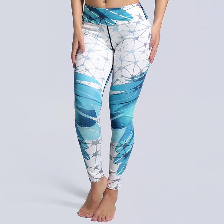 2cb6c6ae91 Women's Elegant High Waist Blue Print Sports Workout Leggings Yoga Fitness  Pants L16199