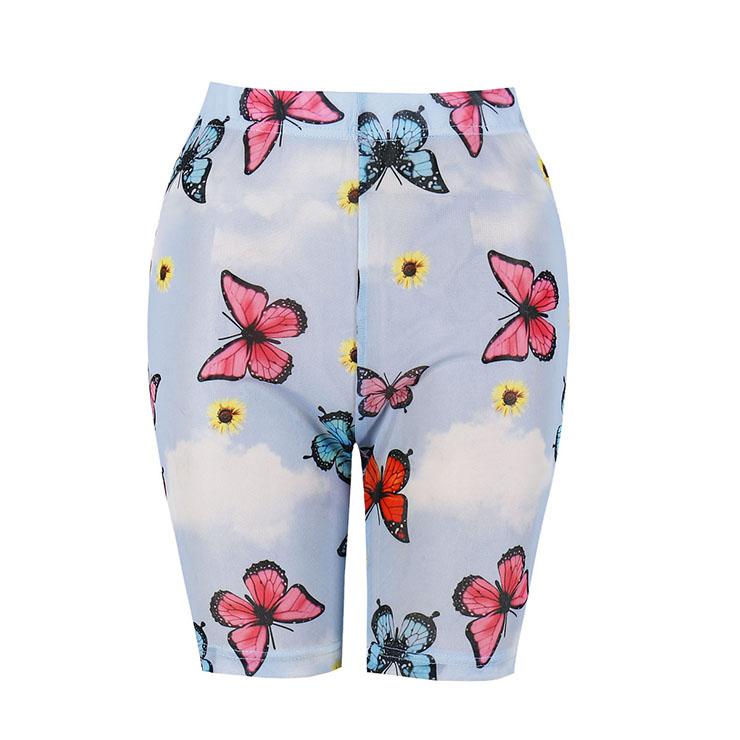Women's Fashion Print High Waist Skinny Yoga Shorts Running Fitness Short Pants PT20442