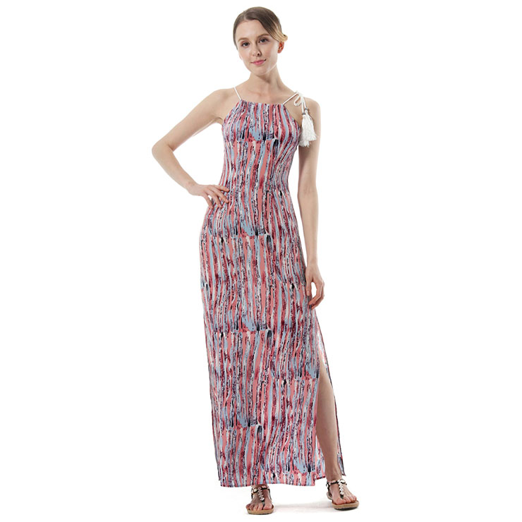 Casual Hemp Rope Hippie Style Sleeveless Cut-outs Beachwear Maxi Day Dress N18766