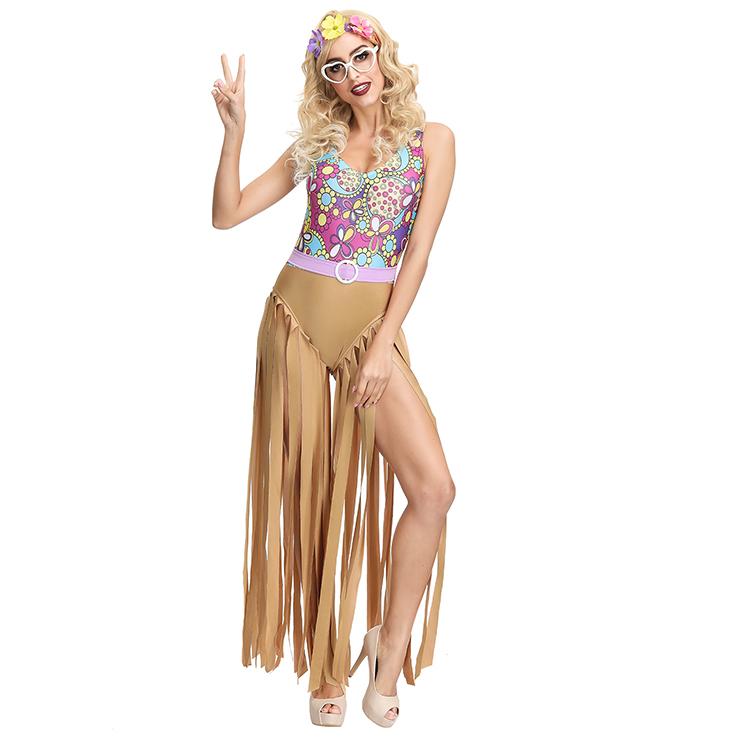 Women's Hippie Hottie One-piece Tank Disco Dancing Tassel Bodysuit Cosplay Costume N19394