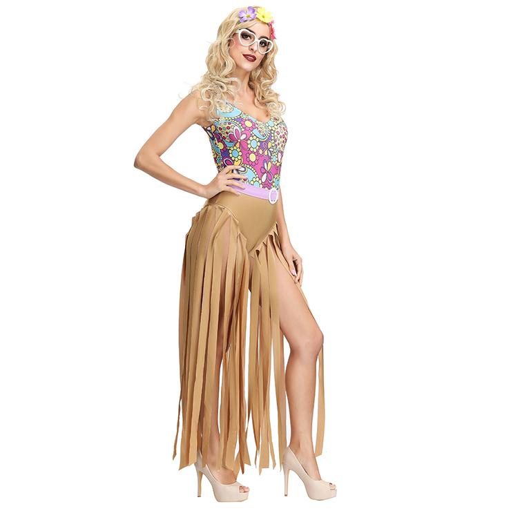 1960s Adult Hippie Hottie One-piece Disco Dancing Jumpsuit Costume, Hippie Theme Party Dacing Costume,Women