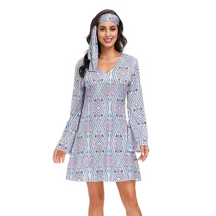 2Pcs Hippie Girl V Neck Bell Sleeves Printed Mini Dress With Headband Adult Cosplay Costume N20595