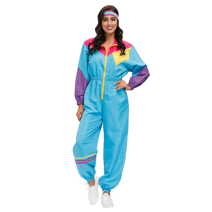 Hippie Girl Disco Dynamic Colorblock Long Sleeve Jumpsuit With Headband Adult Costume N20597