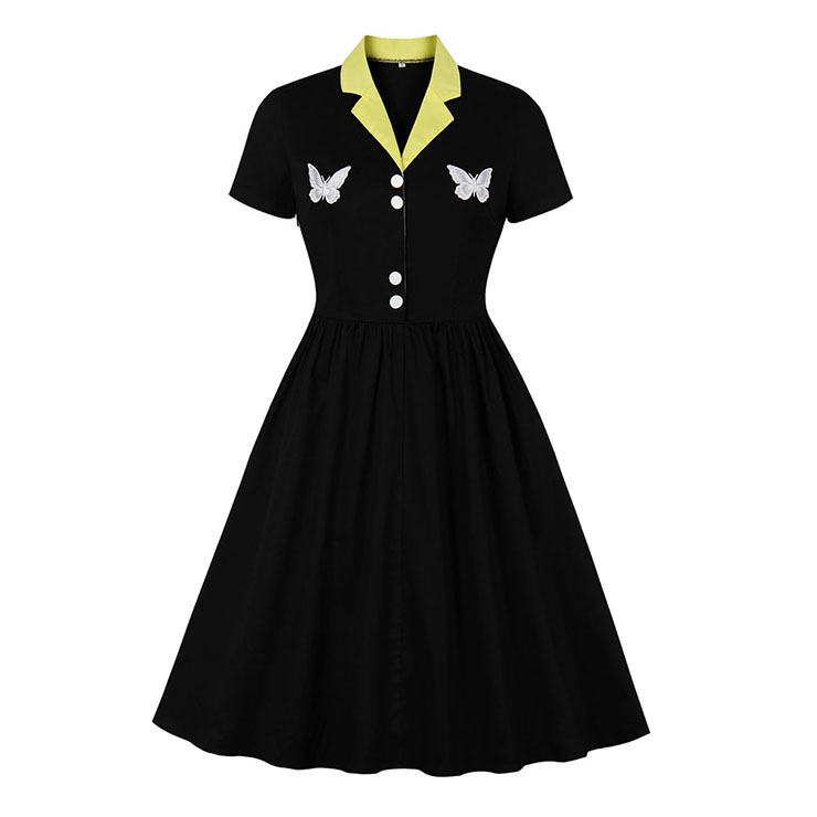 Vintage Hit Color Lapel Short Sleeves Embroidery Butterfly Buttons Big Swing Dress N20505