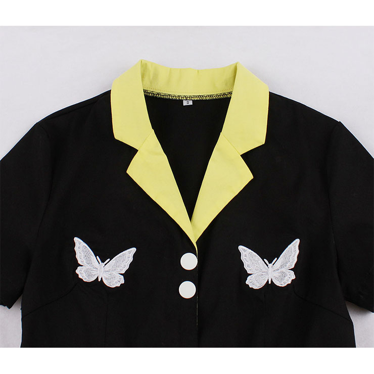 Retro Hit Color Midi Dress, Vintage Dresses for Women, Sexy Dresses for Women Cocktail Party, Vintage High Waist Dress, Short Sleeves Swing Dress, High Waist Swing Daily Dress, Chinoiserie Embroidery Butterfly Dress, #N20505