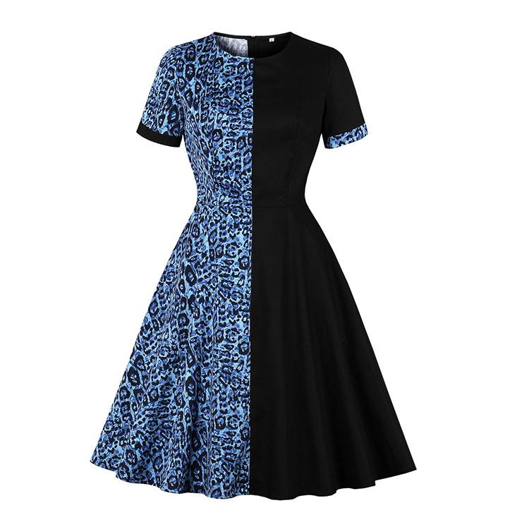 Vintage Hit Color Leopard Print Round Neck Short Sleeves High Waist A-line Dress N20513