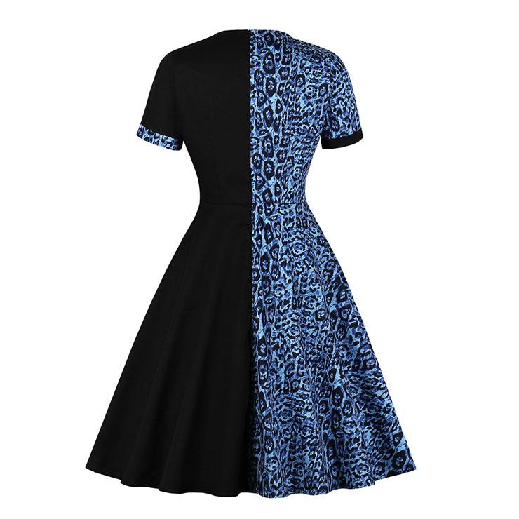 Retro Hit Color Midi Dress, Vintage Dresses for Women, Sexy Dresses for Women Cocktail Party, Vintage High Waist Dress, Short Sleeves Swing Dress, High Waist Swing Daily Dress, Leopard Print Dress, #N20513