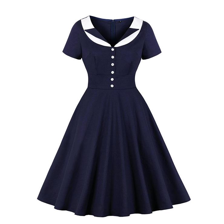 Vintage Hepburn Hit Color Lapel Short Sleeve Front Button High Waist Big Swing Dress N20523