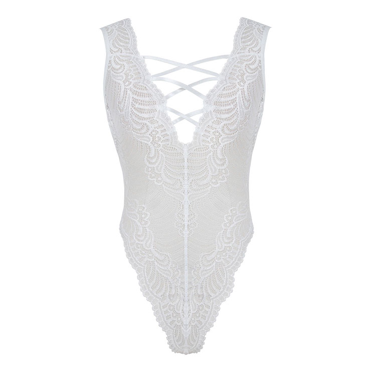 Hollow Out Lace Teddy Lingerie, Sexy White Teddy Lingerie, Cheap Fashion Bodysuit Lingerie, Valentine