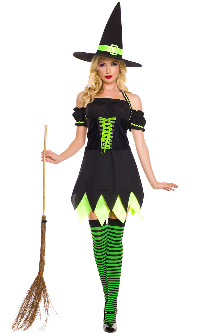Black and Green Witch Costume Evil Witch Halloween Costume Dark Girl Witch Costume  sc 1 st  MallTop1.com & Holly Dark Witch Costume N9188
