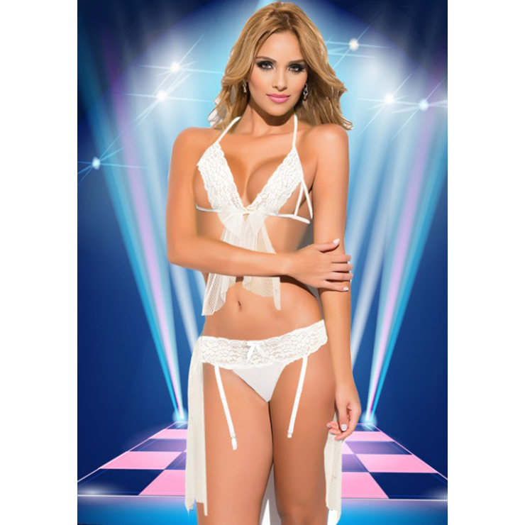 Sexy Honeymoon Halter Cut out Lace Lingerie Set N11722
