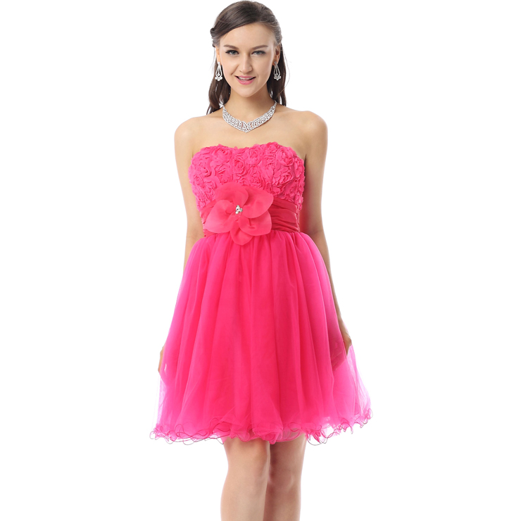 29b6557f7 2018 Pretty Hot-Pink A-line Strapless Empire Lace Flowers Mesh Knee ...