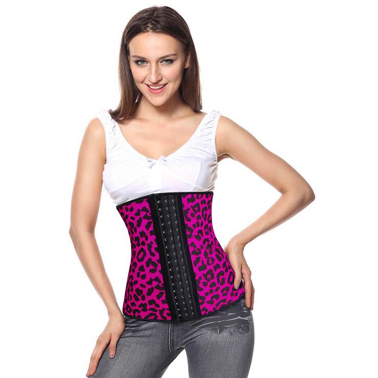 Hot-Pink Steel Bone Underbust Corset, Latex Corset, Sexy Leopard Patterns Underbust Corset, Cheap Women
