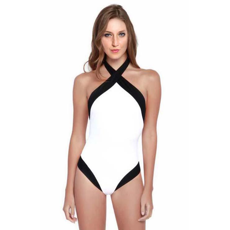 Fashion Cross Halter Backless One-piece Swimsuit BK11382