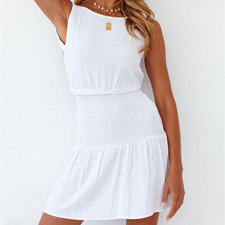 Hot Sexy Women's White Round Neck Sleeveless Backless One-step Skirt Ruffle Dress N21110