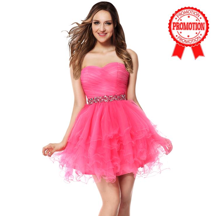 2017 Fashion Hot-pink A-line Sweetheart Beading Waist Band Ruffles Short Sweet 16 Dresses Y30053