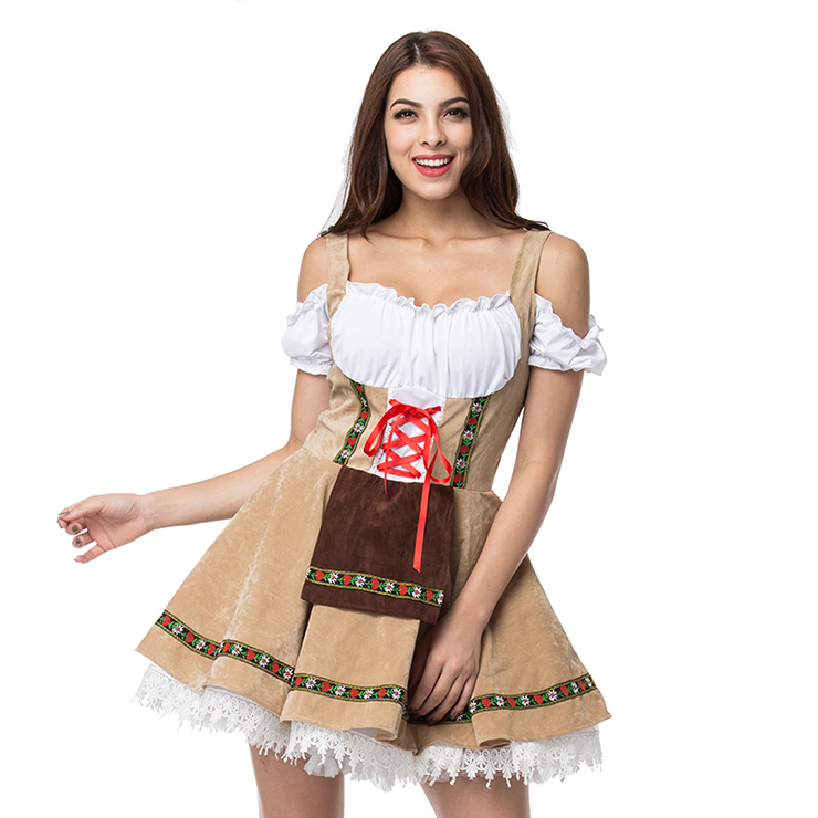 Women's Khaki Adult Beer Girl Oktoberfest Serving Costume N14570