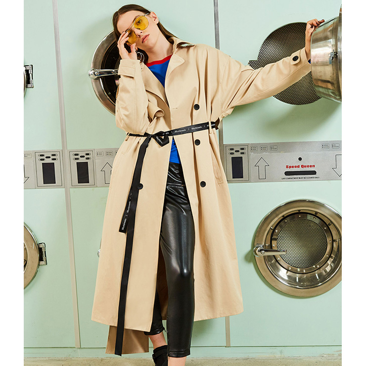 af850940499c Women s Fashion Khaki Lapeled Double-Breasted Casual Trench Coat ...