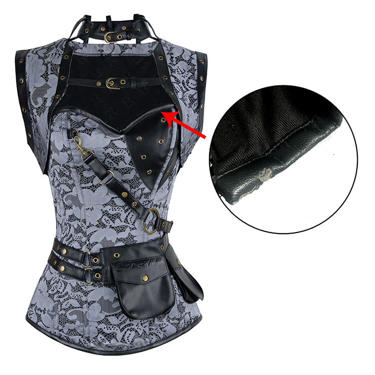 Lace Overlay Steampunk Corset with Jacket With A Little Defect N21299