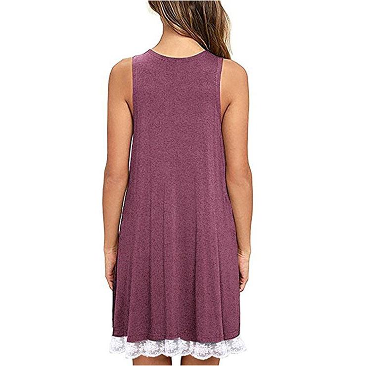 Elastic Red T-Shirt Dresses, Cotton T-Shirt Dresses, Long Blouse Top, Sleeveless Top Mini Dress, Sexy Sleeveless Casual Shirt Dress, #N16447