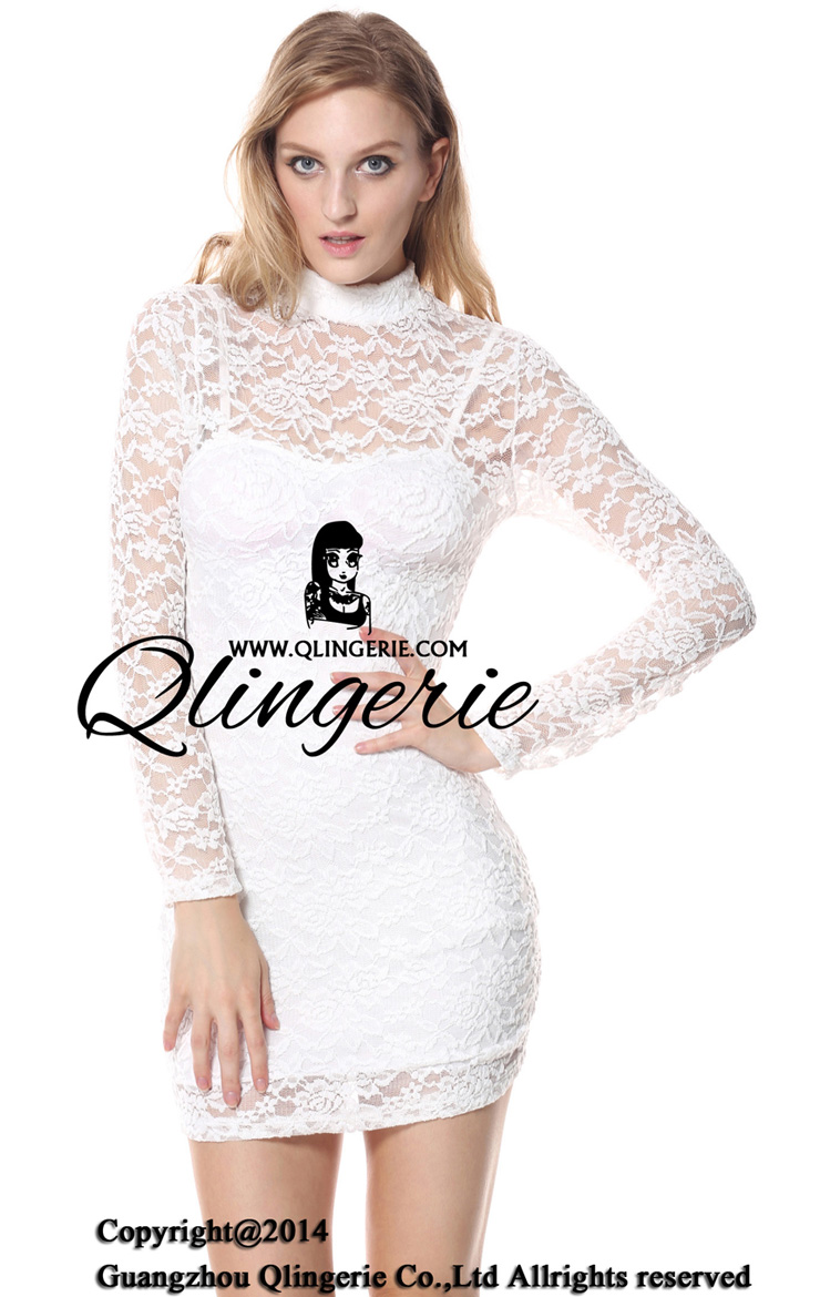Floral Lace Sleeve Mini Dress, Lace dress with open back, Lace Night Dress, #N6838