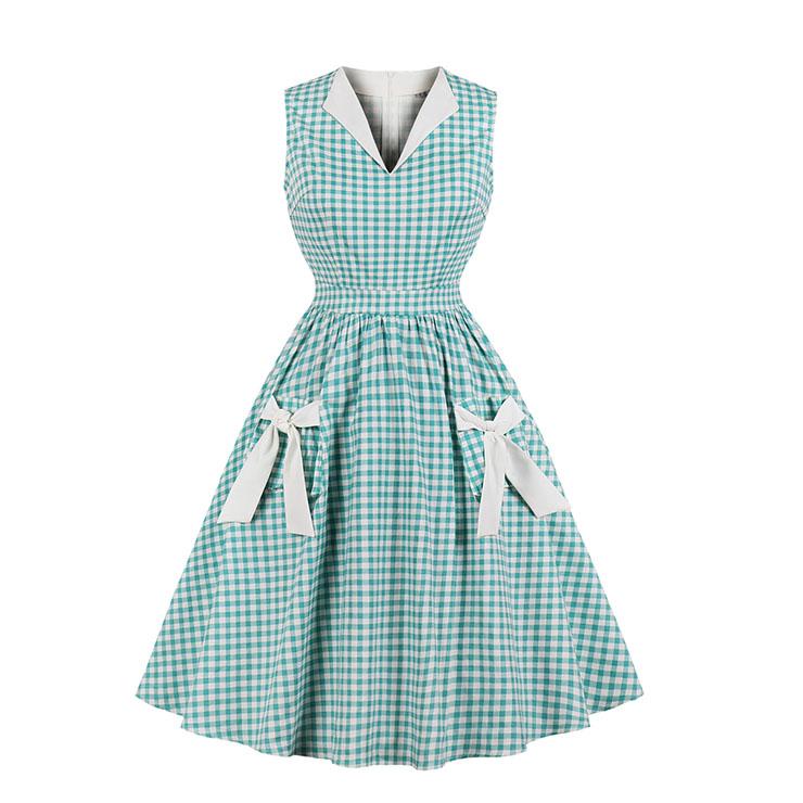 Lake Blue Grid Bowknots Elegant V-neck Sleeveless Hight Waist Midi Dress with Pocket N18267