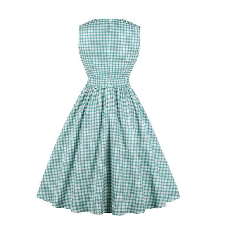 Fashion Dress, Womens Elegant Dress, Elegant V-neck Sleeveless Dress, Lake Blue Grid Midi Dress, Elegant Grid SleevelessDress, Bowknots Grid V-neck Sleeveless Dress#N18267