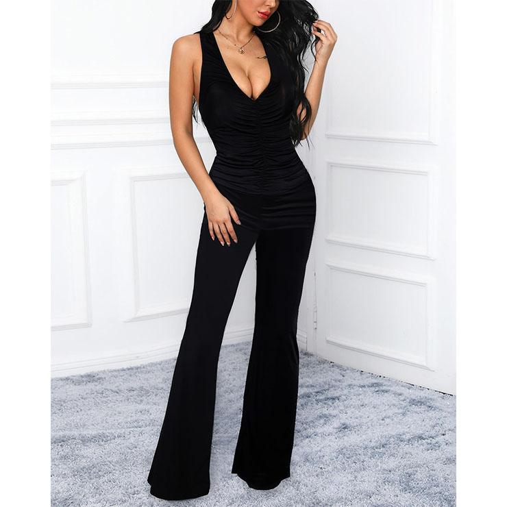 Sexy Ladies Black Deep-v Vest Jumpsuit Full-length Legs Yoga Clothing Bodysuit N20501