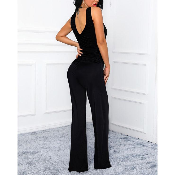 Black Jumpsuit, Clubbing Jumpsuit, Clubwear Jumpsuit,High Quality Bodysuit, Full-length Legs Yoga Clothing, Deep-v Vest Jumpsuit, #N20501