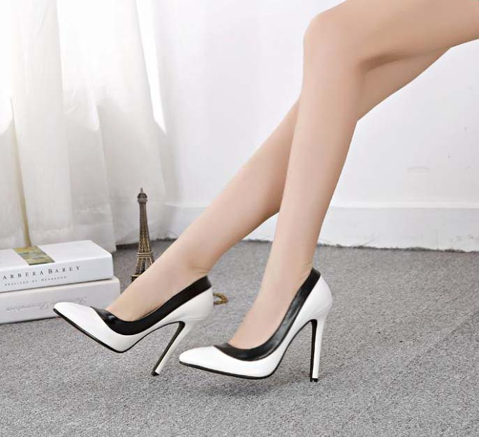 ba6c65c09b1 Fashion Lady Black Edge White Office Pointed Toe High-heeled Shoes SWS20286