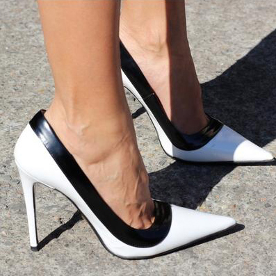 Fashion Lady Black Edge White Office Pointed Toe High-heeled Shoes ...