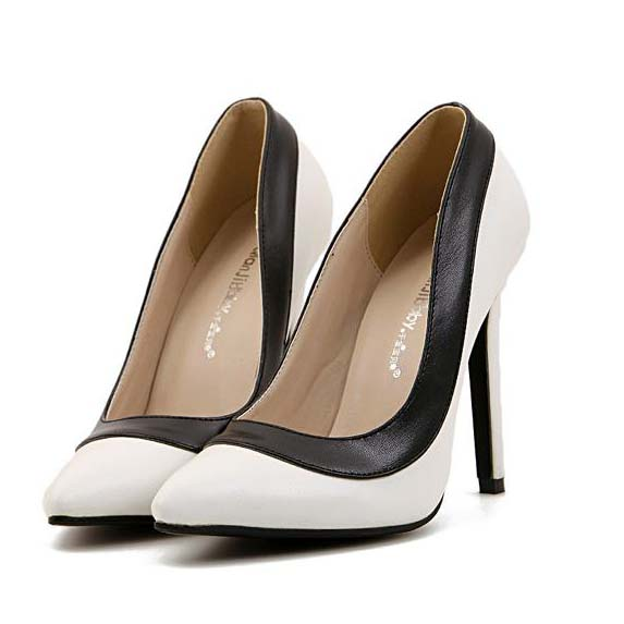Fashion Lady Black Edge White Office Pointed Toe High Heeled Shoes Sws20286