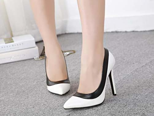 Fashion Lady Black Edge White Office Pointed Toe High ...