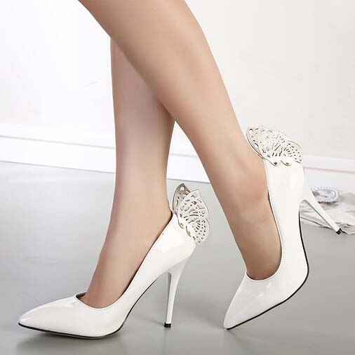 White Butterfly Pattern Pointed Toe High-heeled Shoes SWS20195