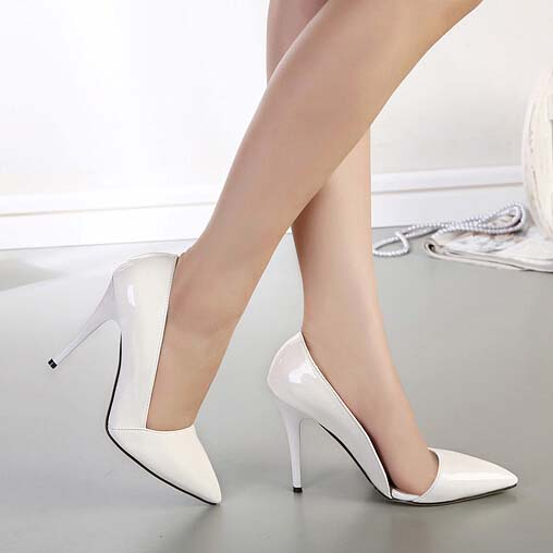 White Patent Leather Pointed Toe High-heeled Shoes SWS20192