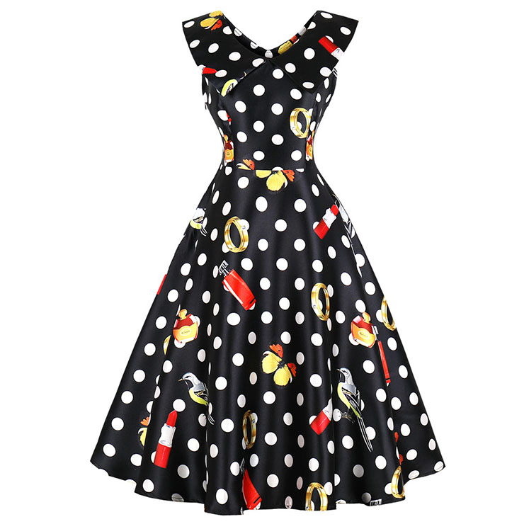 Vintage Lapel Sleeveless Polka Dot Print Slim Fit Midi Swing Party Dress N16390