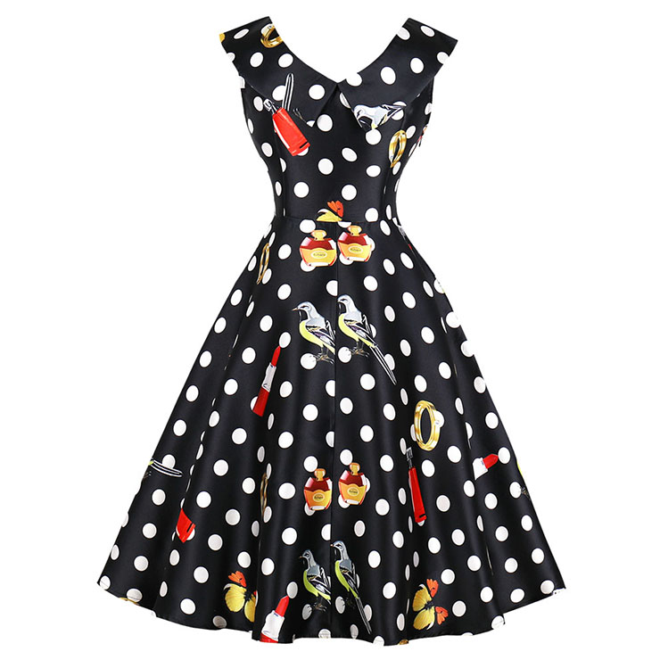 Vintage Lapel Sleeveless Midi Dress, Retro Sleeveless Polka Dot Swing Dress, Classical Sleeveless Printed Midi Dress, Women
