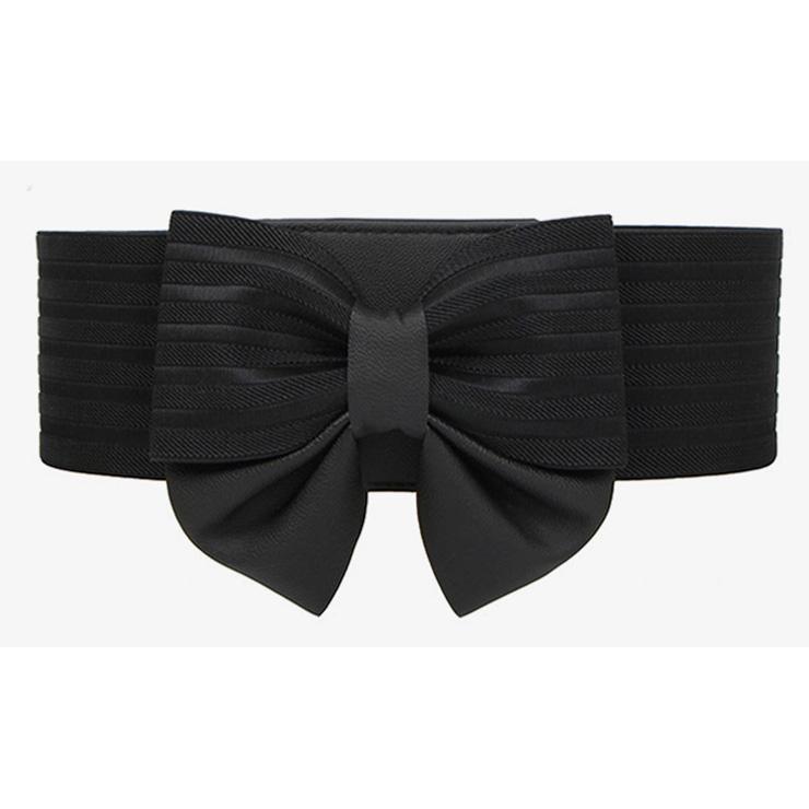 Elegant Black Faux Leather Bowknot Elastic Wide Waistband Belt N18251