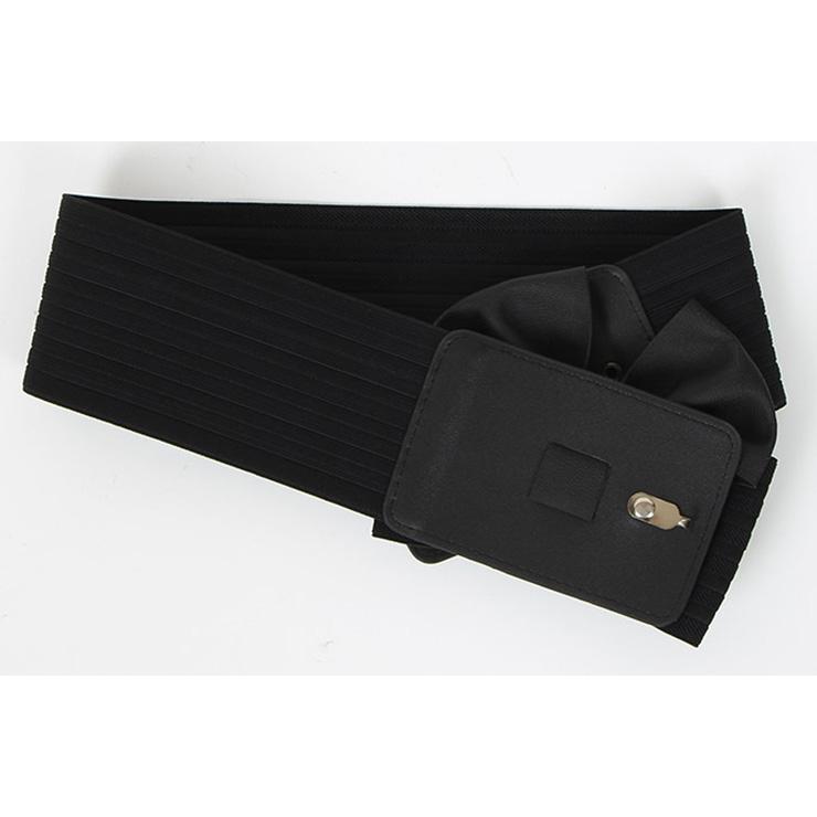 Bowknot Wasit Belt, High Waist Cinch Belt, Black Elastic Wasit Belt, Wide Waist Cincher Belt Black, Faux Leather Wide Waistband Cinch Belt, Elastic Waist Belt for Women, #N18251